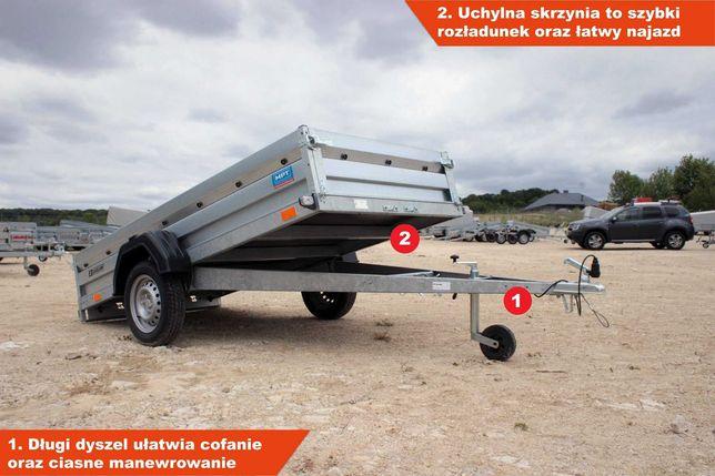 Nowa przyczepa samochodowa Zasław 265x132x35 KNOTT kiprowana Mocna