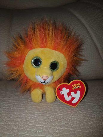 TY Beanie Boos лев, львенок 10см глазастик малыш, милый и пушистый