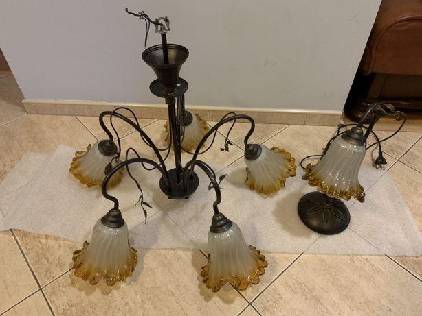 Żyrandol piękny miodowe szklane kielichy lampa