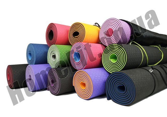 Коврик TPE+TC 6мм+ЧЕХОЛ /Каремат-мат для йоги пилатеса фитнеса йогамат