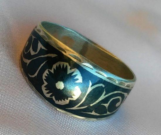 Перстень р17 чернь 875 СССР Звезда серебро кольцо