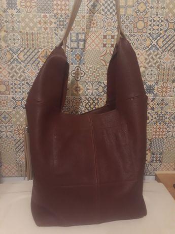 torba skórzana OSTATNIA skóra naturalna bordowa worek shopper