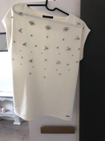 Bluzki damski kolor biały i liliowy