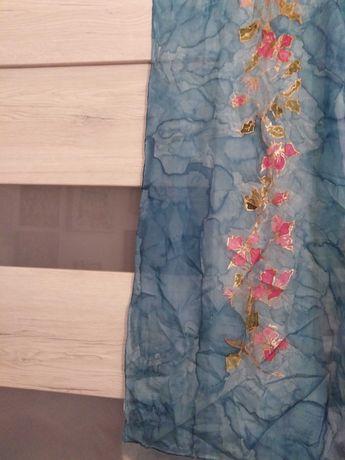 Piękny  szal jedwabny, ręcznie malowany