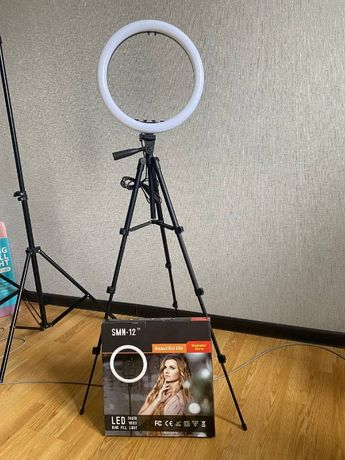 Кольцевая LED лампа SMN-12 30 см + штатив 1.1 м