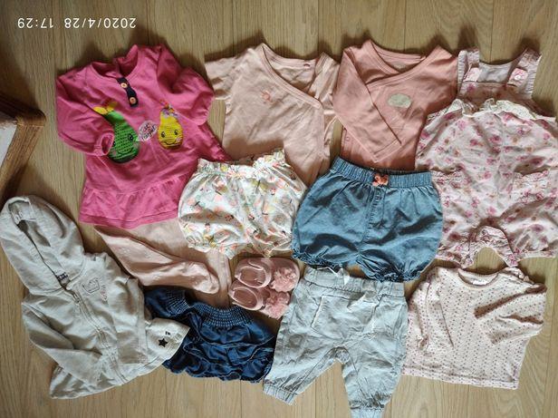 Wiosenno-letnie ubranka niemowlęce + buciki, r.62-68, dziewczynka
