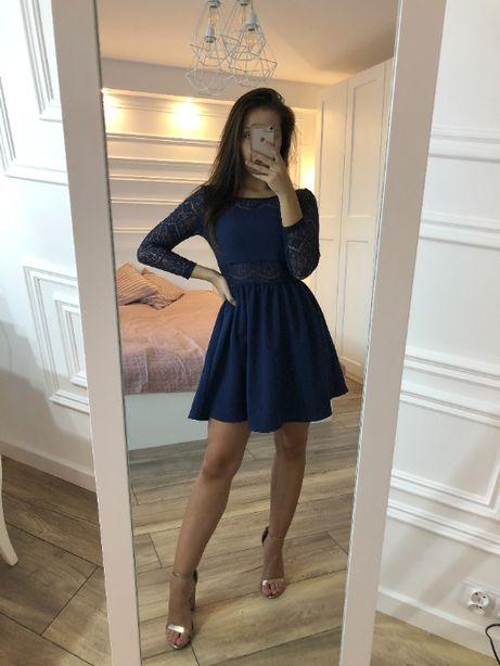 Sukienka z koronką granatowa H&M