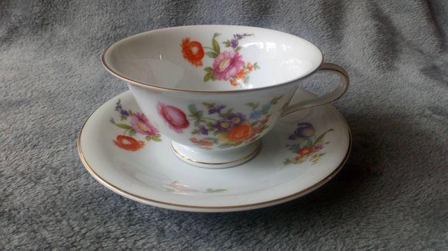 Duża herbaciana filiżanka porcelanowa Rosenthal antyk porcelana kwiaty