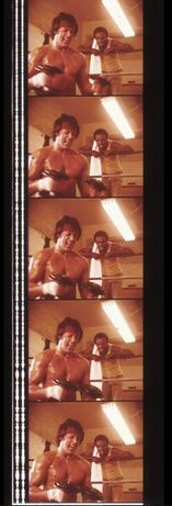 Fotogramas em película do filme culto Rocky 2