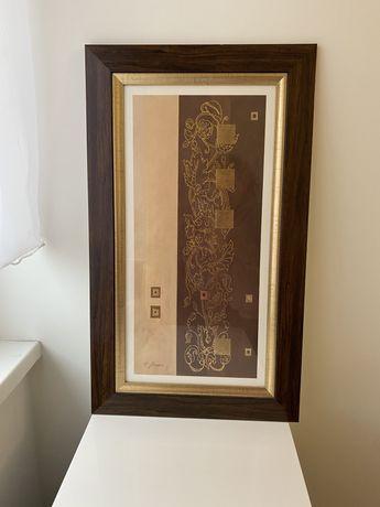 Mały podłużny obraz w drewnianej ramie, złoto i brąz (30/60)