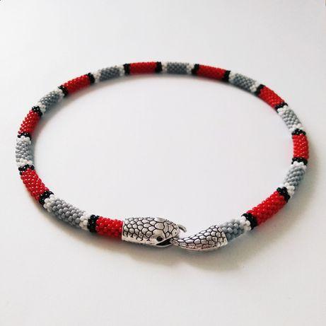 Naszyjnik handmade - wąż - szklane koraliki