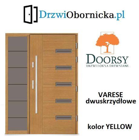 Drzwi DOORSY VARESE drewniane zewnętrzne wejściowe 100mm grubości