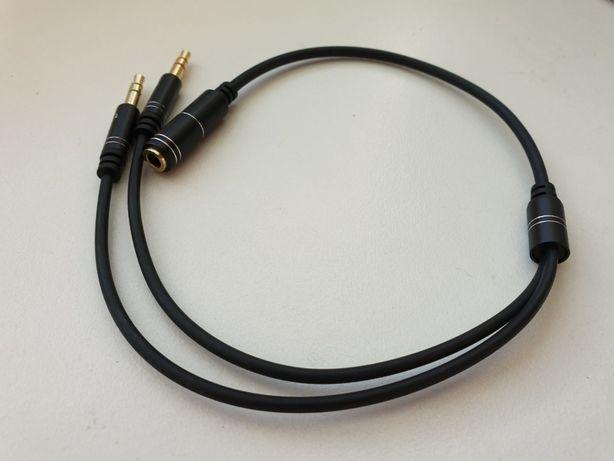 Переходник для наушников с микрофоном аудио ПК PC высокое качество