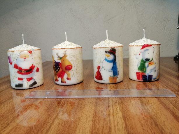 Velas de Natal pintadas à mão