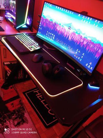 Biurko gamingowe Pro Gamer z podświetleniem RGB dla graczy super stan