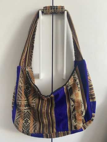 vintage torebka na ramię brązowo niebieska