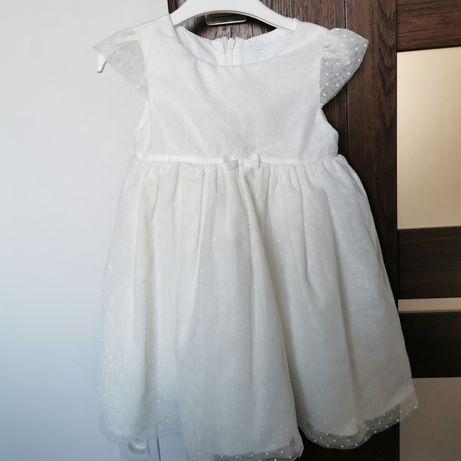 Sukienka r. 92 dla dziewczynki kremowa