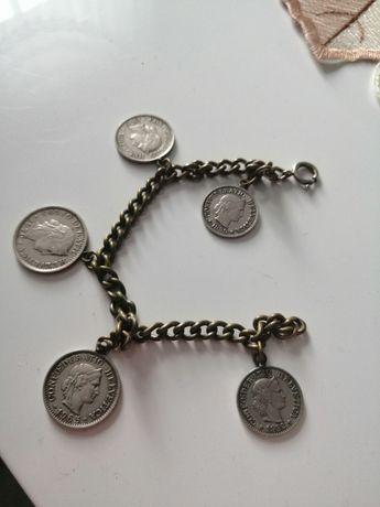 Bransoletka z srebrnych monet szwajcarskich 1965