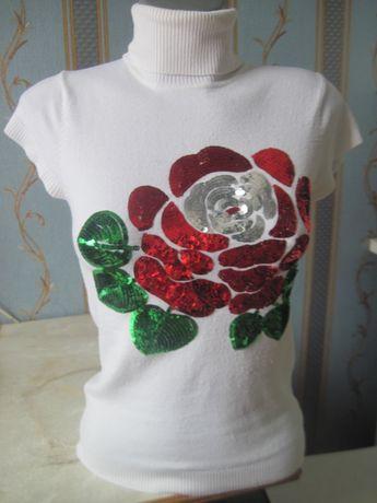 Шикарная женская футболка-свитерок с пайетками