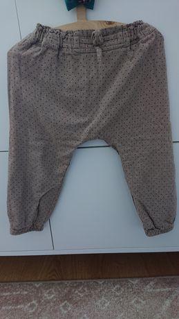 Next 92 spodnie z podszewką w kropki brąz beż