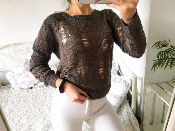 sweter jesien zima dziury przetarcia sexy modny klasyczny insta hit