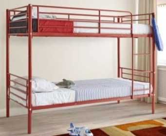 beliche de ferro vermelho com os 2 colchões