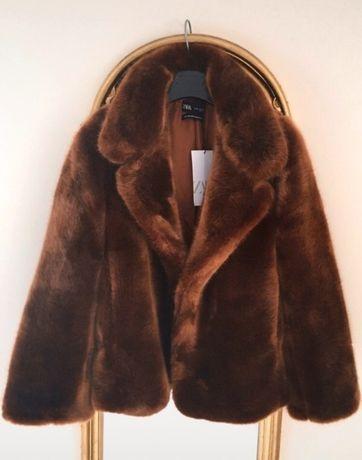 Nowa kurtka, miękkie futerko marki Zara, 40