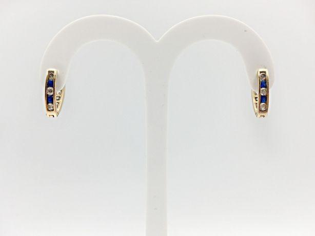 Złote kolczyki cyrkonie złoto 585 niebieskie kamienie używane