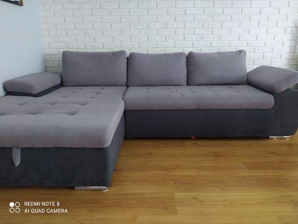 Sofa rogowa w kolorze szarym