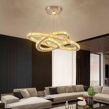 Lampa sufitowa wisząca LED koła ring kryształowa