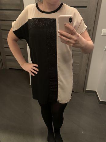 Elegancka czarno bezowa sukienka, rozmiar uniwersalny s m l
