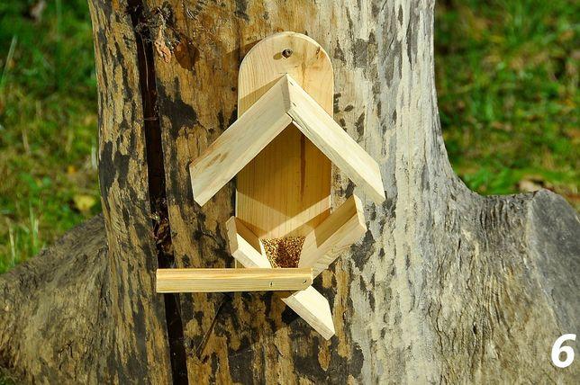 Karmnik drewniany dla ptaków wykonany z drewna iglastego – 6
