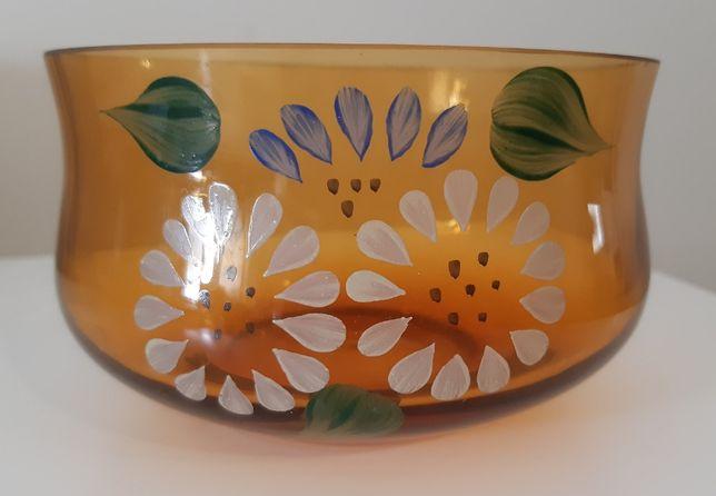 Mieseczki szklane malowane kwiaty starocie 10 zł obie ząbkowice