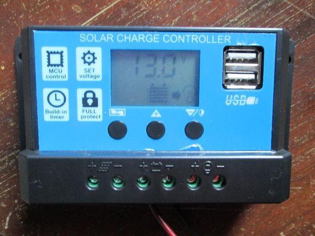 Controlador de Carga Solar 12V/24V 30A ecrã LCD e 2 saídas 5V USB