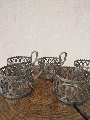 Stare metalowe koszyczki do szklanek 5szt