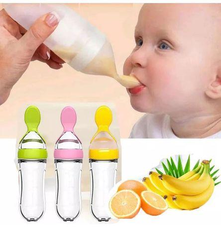 Детская бутылочка-ложка (силиконовая) для прикорма