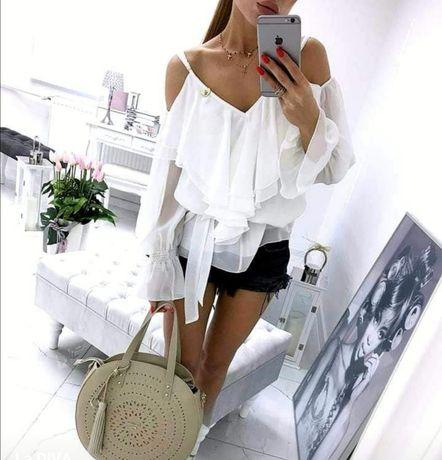 Piękna bluzka hiszpanka biała 36 s