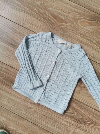 Sweterek ażurowy, kardigan lupilu 74/80 błękitny, wiosna