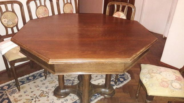 Mesa ortogonal de jantar de nogueira com 6 cadeiras