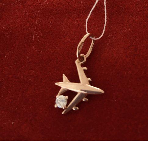 Золотой кулон самолет 585 пробы с камнем цирконий