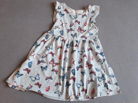Słodka sukienka PRIMARK 110 lato motylki 5 do 5 lat biała