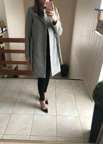 Szary płaszcz wiązany szlafrokowy 36 S