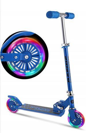 Hulajnoga Racing niebieska, kółka Led