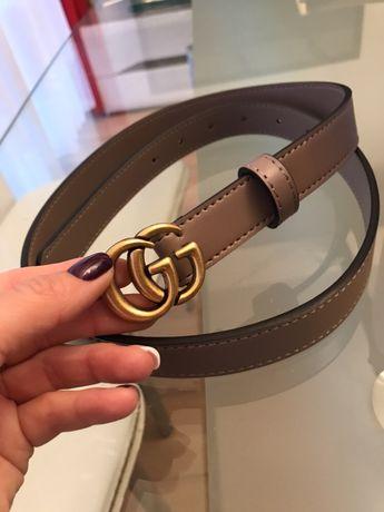 Pasek Gg Gucci Premium 2 cm bezowy skora naturalna!