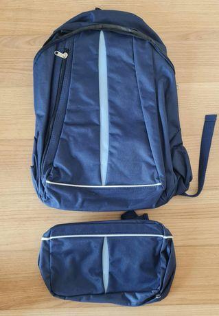 Mochila e bolsa cintura azul - conjunto