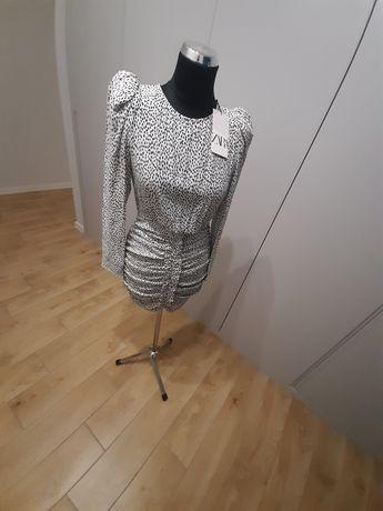 ZARA, sukienka z drapowanien, NOWA, M-38