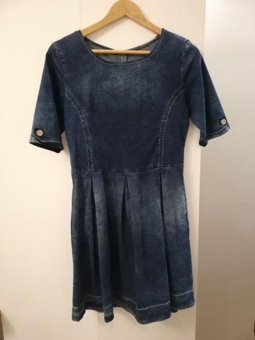 Sukienka dżinsowa granatowa rozkloszowana dołem na zamek XL Bielsk Podlaski - image 1