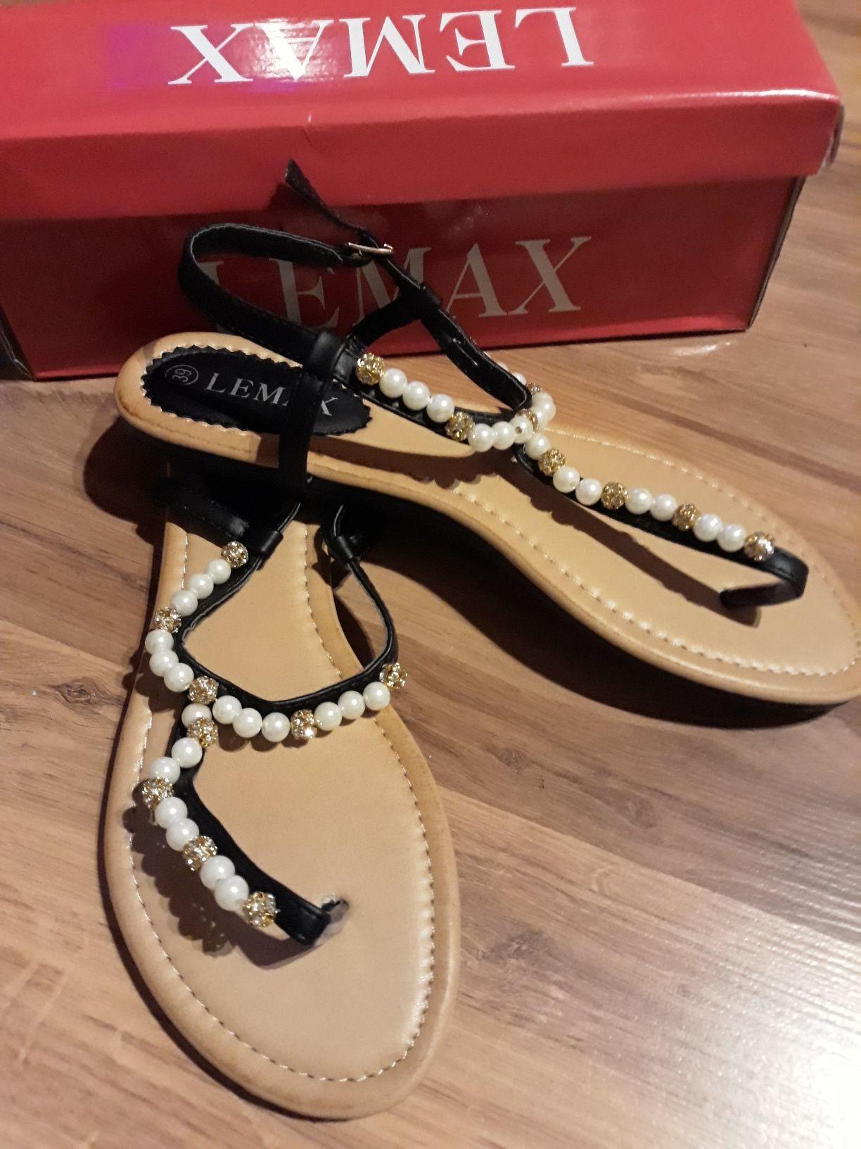 Eleganckie japonki sandaly buty letnie perly cyrkonie nowe piekne