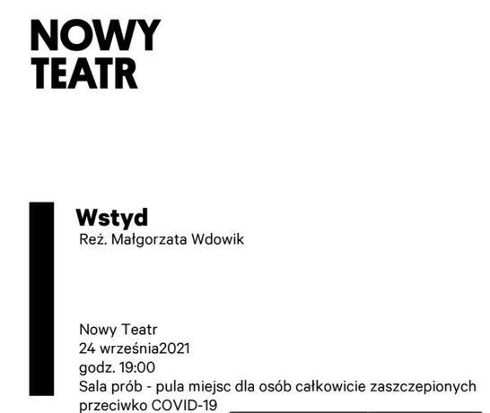 Spektakl Wstyd, Nowy Teatr 2 bilety 24.09.2021 Warszawa