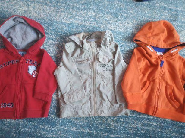 Kurtka przeciwdeszczowa +bluzy z kapturem 74-80